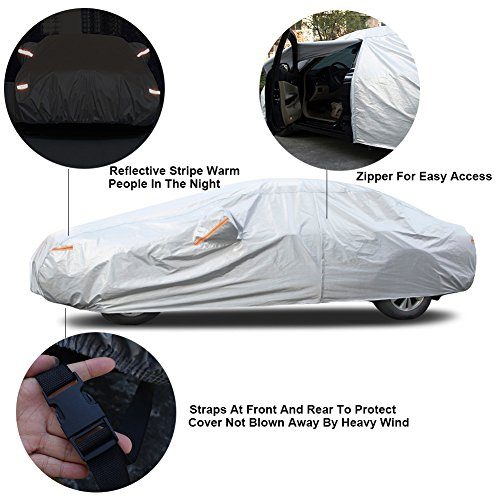 """Kayme 6 Layers Car Cover Waterproof All Weather for Automobiles, Outdoor Full Cover Rain Sun UV Protection with Zipper Cotton, Universal Fit for Sedan (186""""-193"""")"""