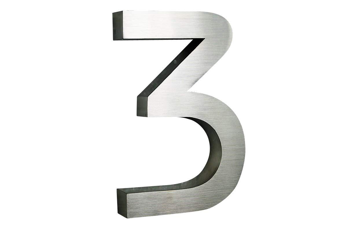 3D Hausnummer 3 Edelstahl ITC Bauhaus Design rostfrei witterungsbest/ändig 3D Effekt 20cm H/öhe und 3cm Tiefe aus geb/ürstetem Edelstahl V2A ALLE erh/ältlich 0,1,2,3,4,5,6,7,8,9,A,B,C,D,E