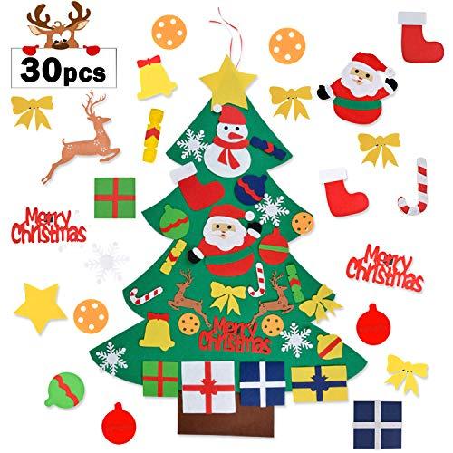 Aniwon Felt Christmas Tree, Xmas DIY Christmas Tree Door Wall Decoration with 30PCS Detachable Ornaments for Kids