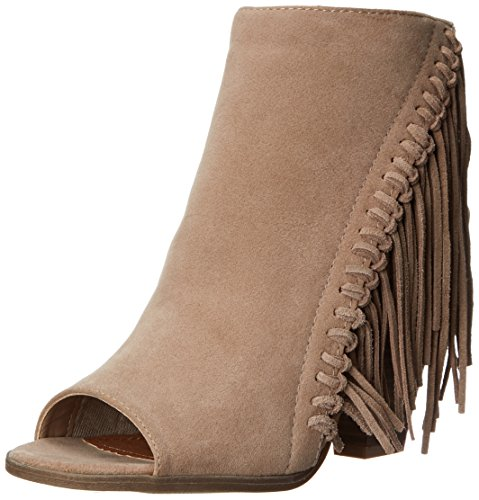 Open Back Ankle Boots (Rampage Women's Lauryn Fringe Peep Toe Open Back Heeled Ankle Boho Bootie,  Natural , 9.5 M US)
