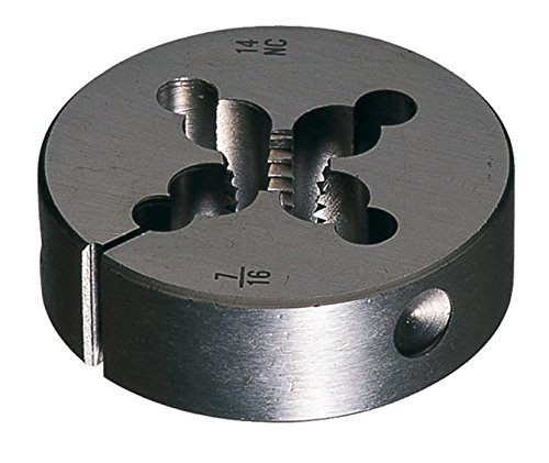 Greenfield Threading 415880 Round Adjustable Die, 1.5'' OD, M14 X 2.0, HSS, Uncoated (Bright) Coating, Right Cut