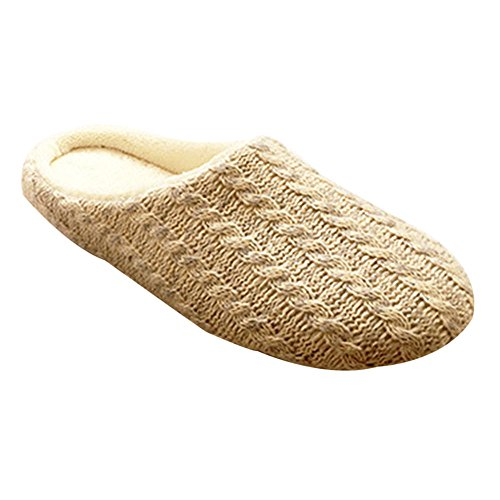 QPLUS Q-Plus Fleece Knit Wollen Men House Cozy Wide Slippers Cushion Flat Slip-on Shoes Indoor Beige White GySHwT