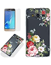 Clear Case for Samsung Galaxy J3 2016 with Screen Protector,QFFUN Ultra Thin Slim Fit Soft Transparent Silicone Phone Case Crystal TPU Bumper Shell Scratch Resistant Protective Cover - Flower
