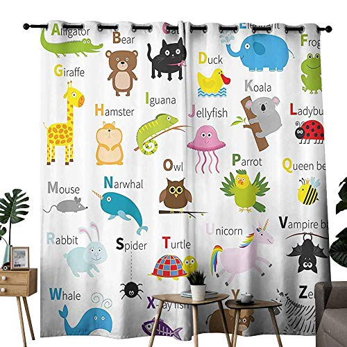 (Kids Room Curtains Animal Cute Zoo Creatures Turtle Unicorn Octopus Ladybug Frog Cat Giraffe Duck Kids Display Multicolor Light Blocking Drapes with Liner W72 xL84)