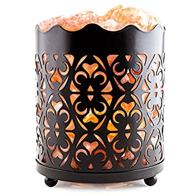 CRYSTAL DECOR Natural Himalayan Salt Lamp with Salt Chunks in Cylinder Design Metal Basket and Dimmable Cord - Choose Your Variation