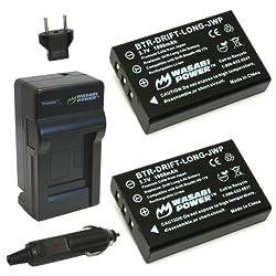Wasabi Power Battery (2-pack) & Charger For Drift Llbat Long-life Battery & Drift Hd170, Stealth