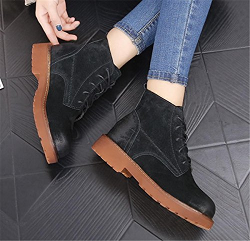 NVXIE Women's Short Boots New Leisure Retro Round head Flat Low Rough Heel Strappy Scrub Genuine Leather Martin Boots Black Brown Spring Fall Winter Party Work 2-EUR39UK665 rdGKpa