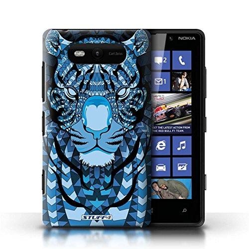 Etui / Coque pour Nokia Lumia 820 / Tigre-Bleu conception / Collection de Motif Animaux Aztec
