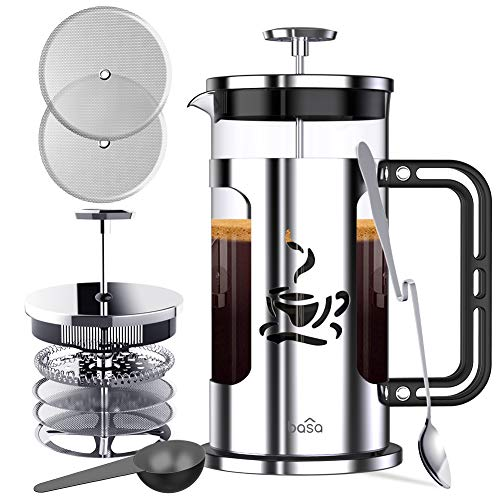 BASA French Press Coffee Maker, 34oz Coffee and Tea Makers with 4 Level Filtration System, BPA Free FDA Approved, 304-Grade Stainless Steel, Heat Resistant Borosilicate Glass