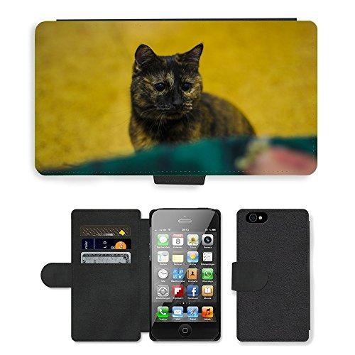 Just Phone Cases PU Leather Flip Custodia Protettiva Case Cover per // M00127536 Cat Museau Bobtail animaux Cat'S Eye // Apple iPhone 4 4S 4G