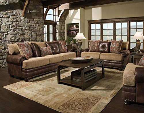 Yellowstone Sofa/Love/Chair Living Room Set-Nailhead Trim-Rustic Cabin Western Lodge Style- Elegant Rolled arms