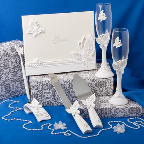 Fashion Craft 2498 Butterfly Themed Wedding Day Accessory Set White