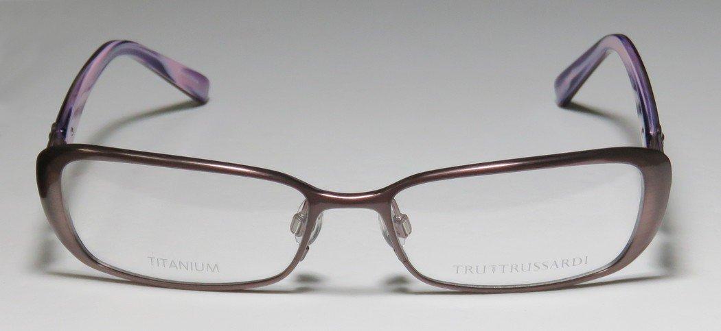 Trussardi 12507 Womens/Ladies Prescription Ready Avant-garde Design Designer Full-rim Titanium Flexible Hinges Eyeglasses/Eye Glasses (53-16-135, Mauve / Violet) by Trussardi (Image #4)