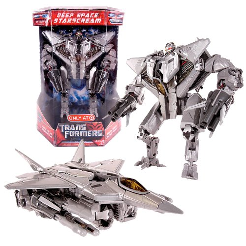 (Hasbro Year 2007 Series 1 Transformers Movie Exclusive Limited Edition Voyager Class 7 Inch Tall Action Figure - Decepticon Deep Space STARSCREAM with Metallic Finish Plus Missile Launchers and 6 Missiles (Vehicle Mode: F-22 Raptor Fighter Jet) )