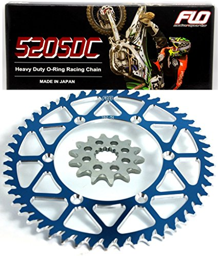 FLO MOTORSPORTS O-RING CHAIN AND SPROCKET COMBO KIT YAMAHA YZ125 / YZ250F 13T FRONT / 48-53 TOOTH REAR SPROCKET (48T, Blue)