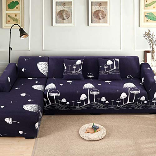 BERTERI Creative Mushroom Printed Couch Slipcover for Fabric Leather Sofa Loveseat Sectional Sofa Protector