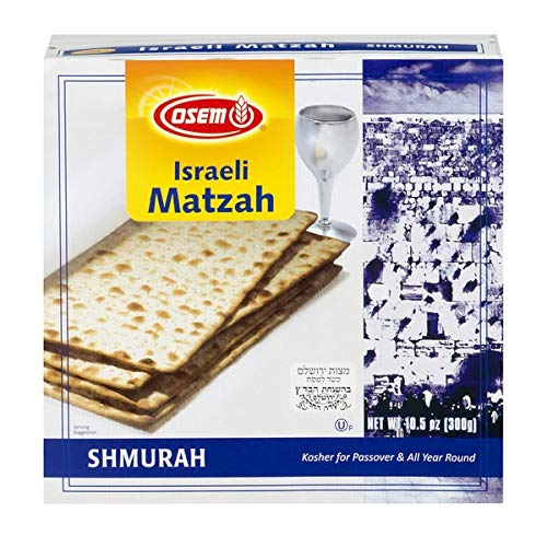 Osem Shmurah Matzah, Kosher For Passover Israel Matzos, 10.5 oz