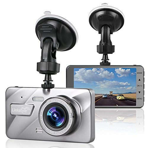"""Dash Cam Car Camera, LinkStyle 4"""" LCD Screen FHD 1080P Wide Angle Dashboard Camera Car DVR Video Recorder Built in G-Sensor Emergency Recording, Night Vision, WDR, Loop Recording, Parking Mode"""