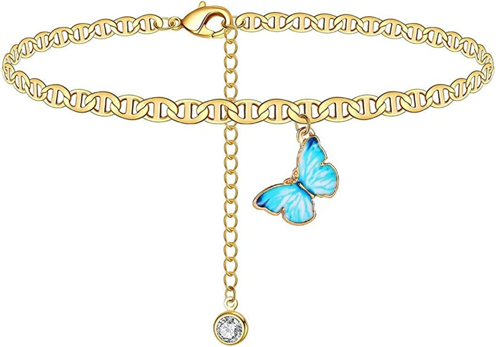 Althrorry Butterfly Anklet Bracelets Boho Foot Chain Beach Anklets for Women Personality Wild Popular Butterfly Legs Foot Bracelets Adjustable