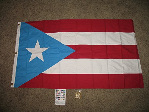 Puerto Rico Wholesale - AES 3x5 Puerto Rico (Light Blue) Embroidered Sewn 100% Cotton Flag 3'x5' Banner with Clips