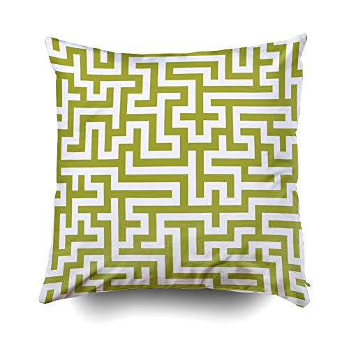 Musesh Halloween in Green pear Maze Pattern Cushions Case Throw Pillow Cover for Sofa Home Decorative Pillowslip Gift Ideas Household Pillowcase Zippered Pillow Covers 20X20Inch