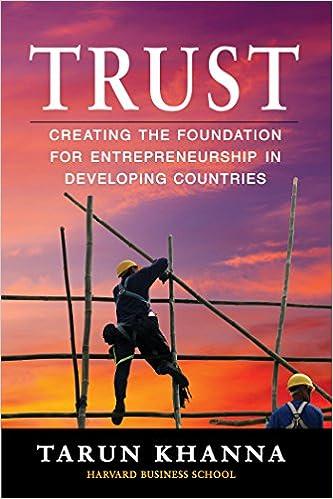 Trust: Creating the Foundation for Entrepreneurship in Developing