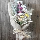 Dried Flower Bouquet, Real Cotton Stems, White Gypsophila and Limonium Grass Strawflower Flower Arrangements