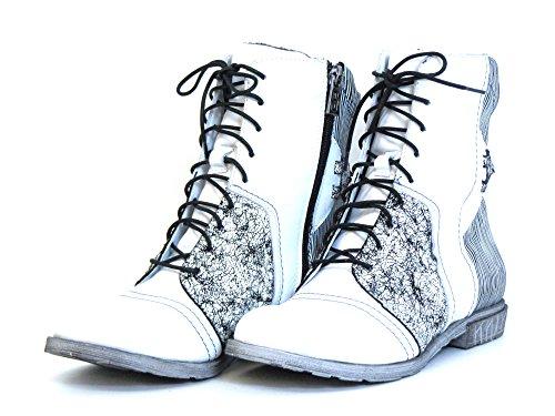 Simen Damen Stiefeletten weiß-kombi (weiß) 09767 Weiß-Kombi