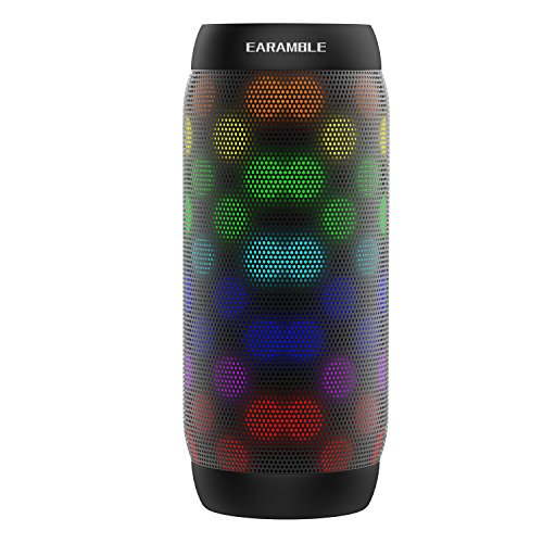 Earamble 10W Portable LED Bluetooth 4.2 Speaker HiFi Stereo, 6 Mode Lights, Water Resistant Splashproof, Build-in Microphone, Compatible Phone, Laptop, Mp3, Computer (Black)