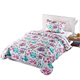 MarCielo 2 Piece Kids Bedspread Quilts Set Throw Blanket for Teens Boys Girls Bed Printed Bedding Coverlet, Twin Size, Owl A32 (Twin)