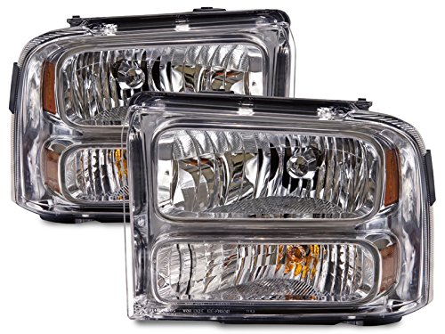 Headlights Halogen Set Driver Left Passenger Right Pair Fits 2005-2007 Ford F-250/F-350/F-450 SuperDuty (Chrome)