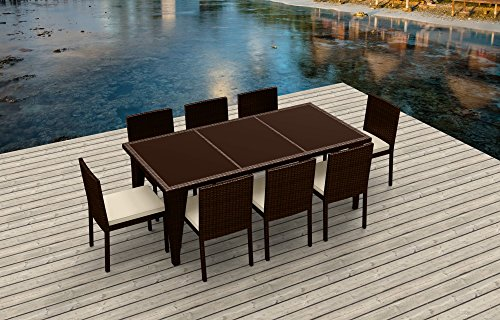 UrbanFurnishing.net - 9 Piece Wicker Outdoor Patio Dining Set - BROWN Wicker / (Collection Patio Dining Set)