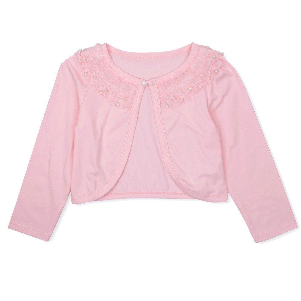 iEFiEL Girls Long Sleeve Beaded Lace Flower Dress Bolero Wedding Shrug Pink Lace 7-8