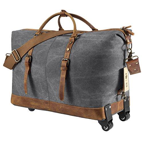 luggage rolling duffel bag leather trim canvas wheeled carry on travel 50l dark ebay On leather luggage wheeled duffel