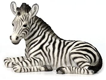 6.13 Inch Baby Zebra Kneeling Decorative Figurine, White and Black