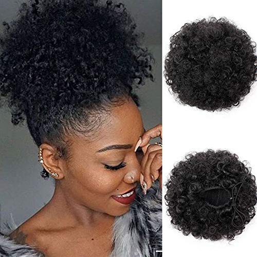 Beauty : Synthetic Afro Puff Drawstring Ponytail Short Kinky Curly Hair Bun Extension Hairpieces Updo Hair Extensions with Two Clips (Black-1#)