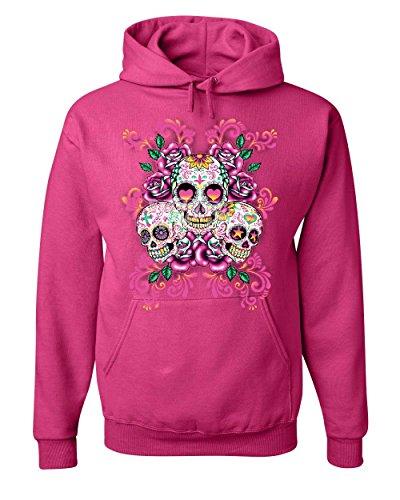 3 Sugar Skulls Hoodie Dia de Los Muertos Roses Day of The Dead Sweatshirt Hot Pink 3XL (Pink Hoodie Skull)