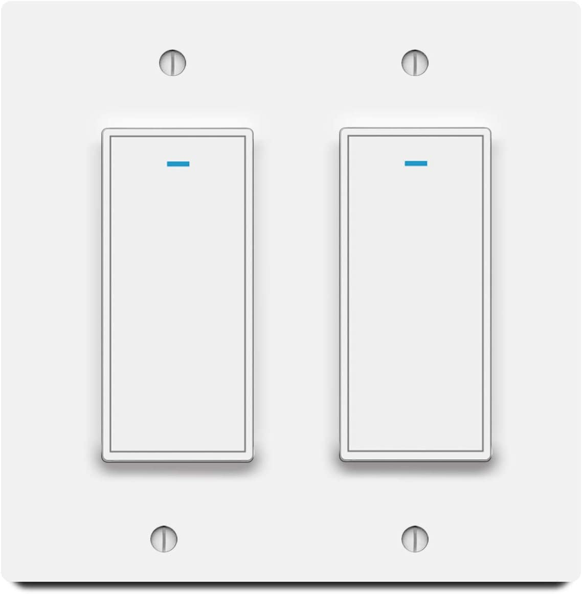 Smart Light Switch, Aleath Smart Switch, 2.4Ghz WiFi Light Switch - Neutral Wire Needed, Works with Alexa, Google Assistant and IFTTT, Remote Control - Single Pole Smart Switch 2 Gang