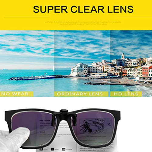 68989dd305cc9 WELUK Polarized Clip-on Sunglasses Flip up Style over Prescription Glasses  for Driving Lightweight