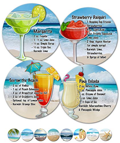 (Coasters For Drinks, Sandstone Coasters, Housewarming Hostess Gifts for New Home, Wedding Registry, Living Room Decorations, Cool Gift Ideas, Beach Coasters, Set of 4 No Holder (12345 Drink Recipes))