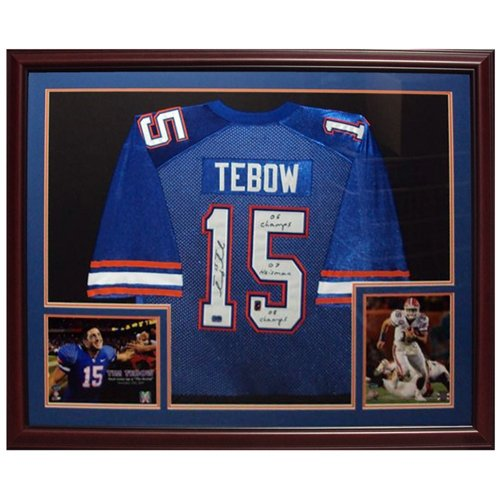 Tim Tebow Autographed Florida Gators (Blue #15) Deluxe Framed Jersey w/