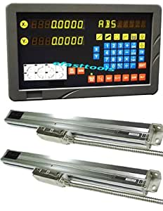"""2 Axis DRO Digital Readout Lathe Pacakage Linear Glass Scale 0.0002"""" Fit on 36 and 40"""" bed lathe"""
