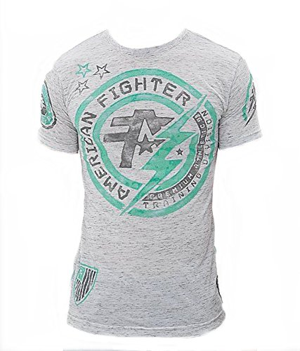 Fighter Cage Chuck (American Fighter Allen Artisan Mens T Shirt (X-Large, Heathered White/Grey))