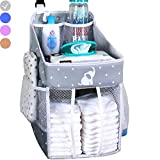 Hanging Diaper Caddy - Crib Diaper Organizer - Diaper Stacker for Crib, Playard or Wall - Newborn Boy and Girl Diaper Holder for Changing Table - Baby Shower Gifts- Elephant Gray - 17x9x9 inches