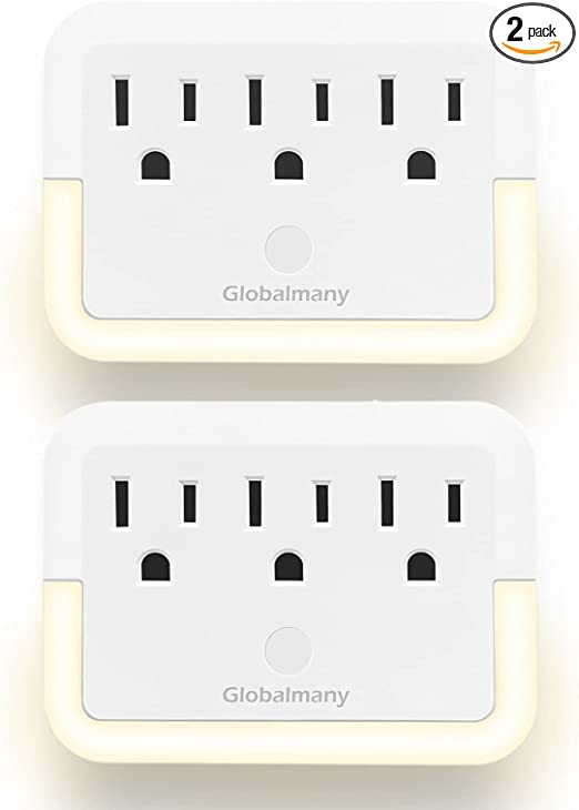 Globalmany 3 Outlet Extender with Night Light, Plug-in Warm White LED Nightlight, Multi Plug Socket Wall Outlet with Auto Dusk to Dawn Sensor Light for Hallway, Stairs, Bedroom, Living Room (2 Pack)