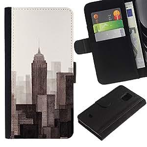 Billetera de Cuero Caso Titular de la tarjeta Carcasa Funda para Samsung Galaxy S5 Mini, SM-G800, NOT S5 REGULAR! / Monotone Gray Beige Art Painted / STRONG