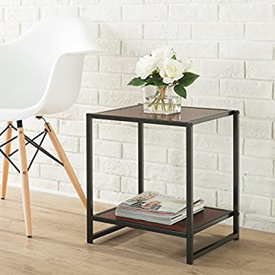 """Zinus Priyanka Modern Studio Collection 15 Inch Square Side Table / End Table / Coffee Table - Functional and stylish with additional lower shelf Easy to Assemble and fits in small spaces Dimensions: 15""""L x 15""""W x 18""""H with 100 lb. weight capacity - living-room-furniture, living-room, end-tables - 51WlmsV4EgL. SS400  -"""