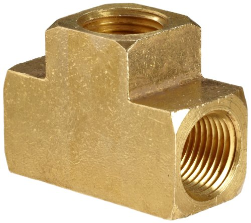 Anderson Metals Brass Pipe Fitting, Barstock Tee, 1/2