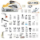 43 pcs Presser Feet Set with Manual & Adapter SIMPZIA Sewing Machine Foot Kit Compatible for Brother, Babylock, Janome, Singer, Elna, Toyota, New Home, Simplicity, Necchi, Kenmore, White (Low Shank)