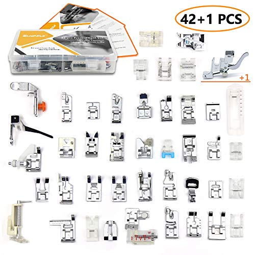 42 pcs Presser Feet Set with Manual & Case & Adapter SIMPZIA Sewing Machine Foot Kit Compatible for Brother, Babylock, Janome, Singer, Elna, Toyota, New Home, Simplicity, Necchi, Kenmore, White (Viking Presser Feet)